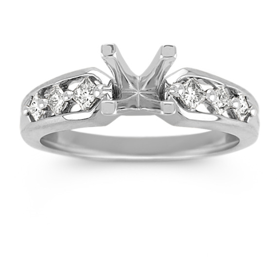 Cathedral Princess Cut Diamond Engagement Ring