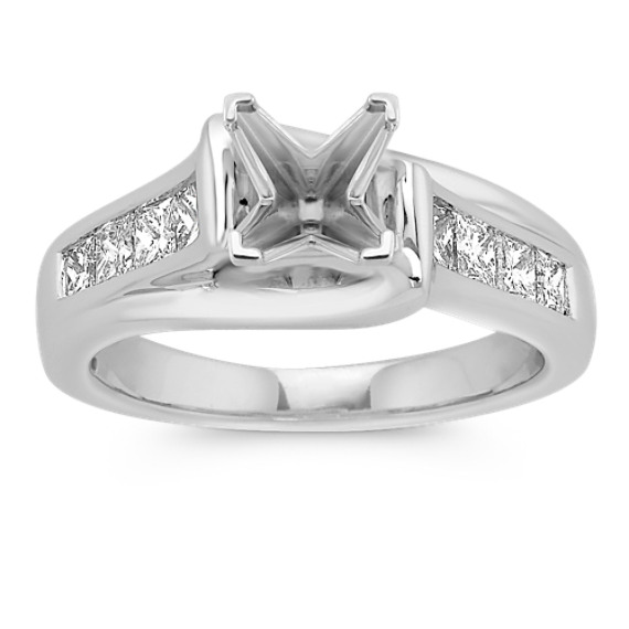 Cathedral Princess Cut Engagement Ring with Channel-Setting (Unmounted ...