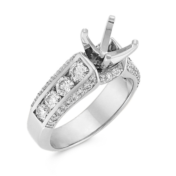 Cathedral Round Diamond Engagement Ring with Channel-Setting