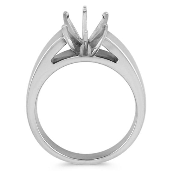 Cathedral Solitaire 14k White Gold Engagement Ring
