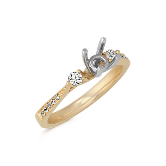 Cathedral Three-Stone Diamond Engagement Ring