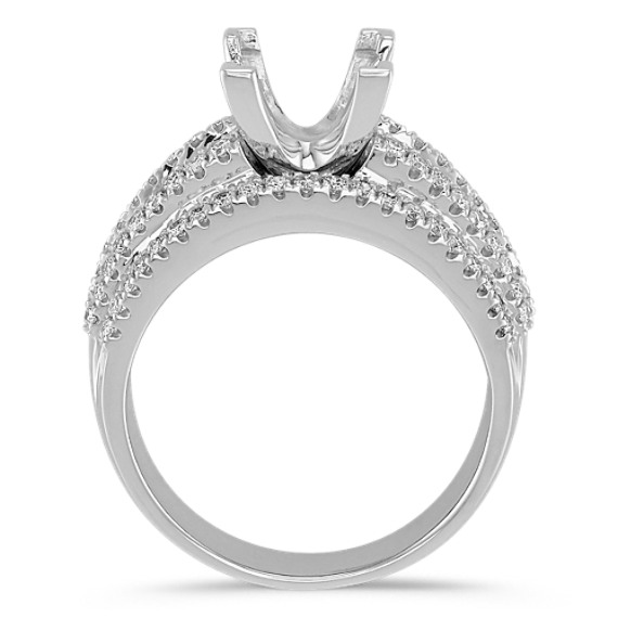 Center Isle Princess Cut and Round Diamond Engagement Ring