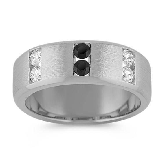 Channel-Set Black Sapphire and Diamond Ring