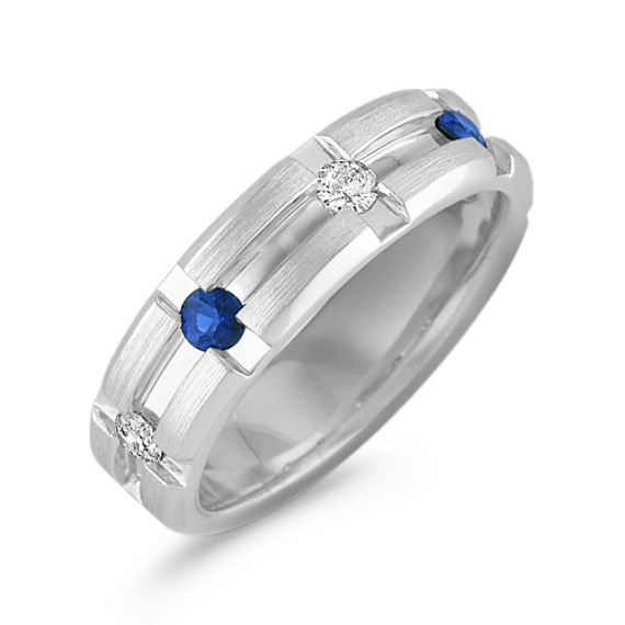 Channel-Set Diamond and Sapphire Ring