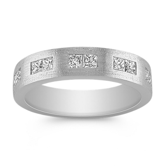 Channel-Set Princess Cut Diamond Ring with Satin Finish