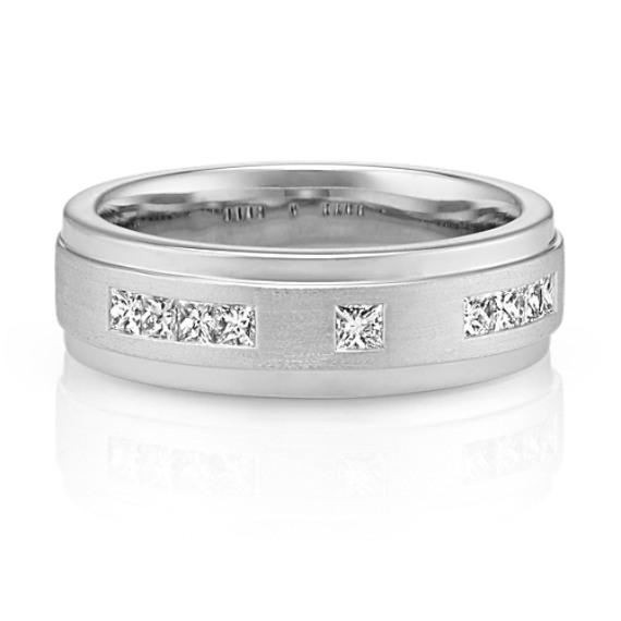Channel-Set Princess Cut Men's Ring in 14k White Gold (7mm)