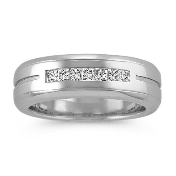 Channel-Set Princess Cut Men's Ring in 14k White Gold (7 mm)
