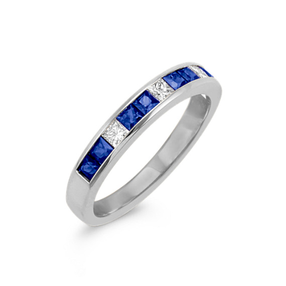 Channel-Set Princess Cut Sapphire and Diamond Wedding Band