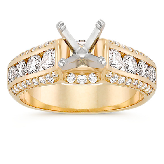 Channel-Set Round Diamond Cathedral Engagement Ring