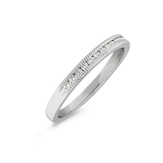 Channel-Set Round Diamond Wedding Band with Milgrain Edge