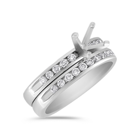 Channel-Set Round Diamond Wedding Set