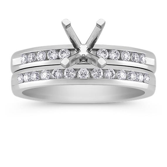 Channel Set Round Diamond Wedding Set