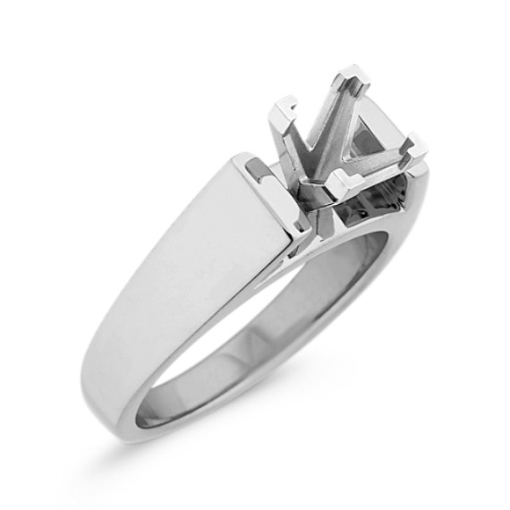 Chevron Head Cathedral Solitaire 14k White Gold Engagement Ring