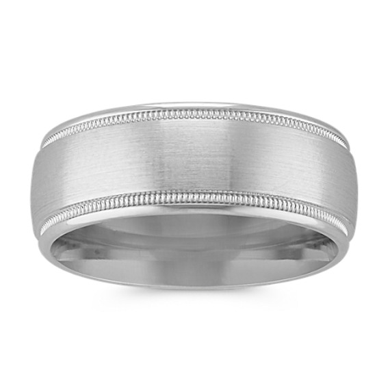 Classic 14k White Gold Band with Satin Finish and Milgrain Detailing (8mm)