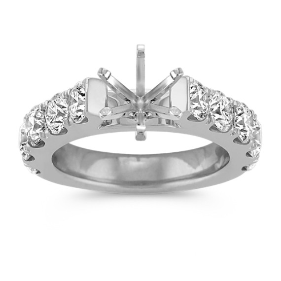 Classic Cathedral Engagement Ring with Pavé Setting