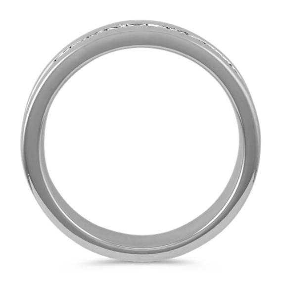 Classic Channel-Set Princess Cut Diamond Ring with Sandblast Finish (7mm)