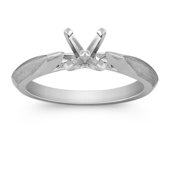Classic Diamond Engagement Ring with Brushed Accents