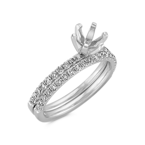 Classic Diamond Wedding Set in Platinum with Pavé Setting