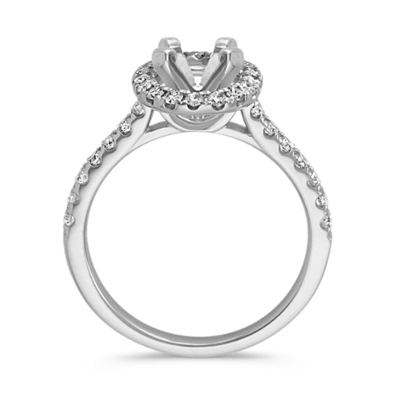 Classic Oval Halo Engagement Ring in 14k White Gold