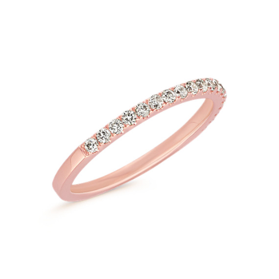 Classic Pavé-Set Diamond Wedding Band in 14k Rose Gold