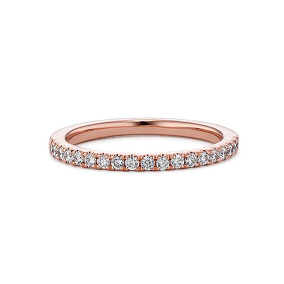 Classic Pavé-Set Diamond Wedding Band in 14k Rose Gold