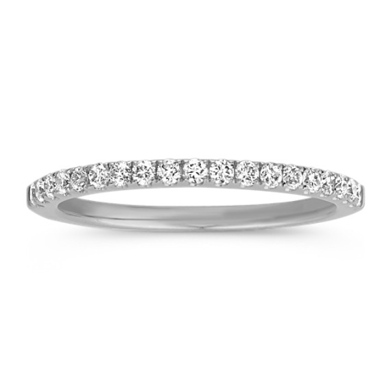 Classic Pavé-Set Diamond Wedding Band in 14k White Gold