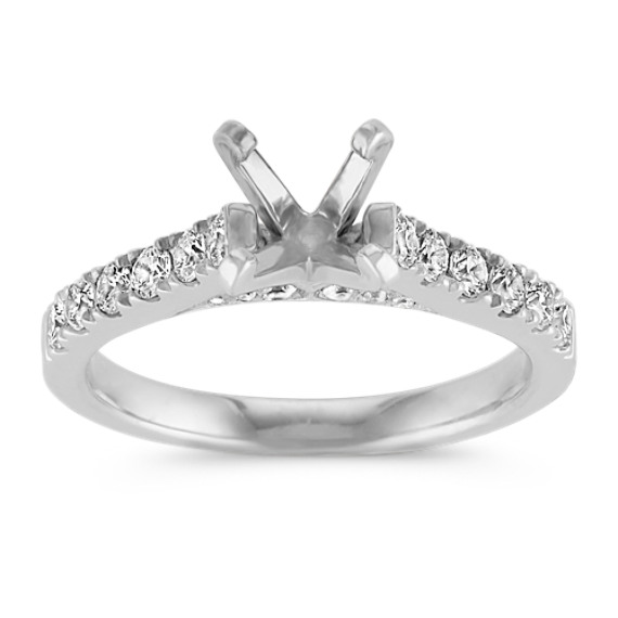 Classic Platinum Diamond Cathedral Engagement Ring with Pavé Setting