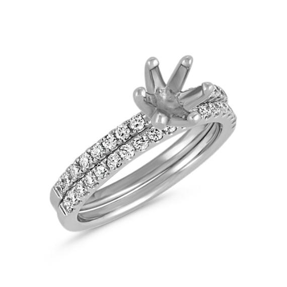 Classic Round Diamond Platinum Wedding Set with Pavé-Setting