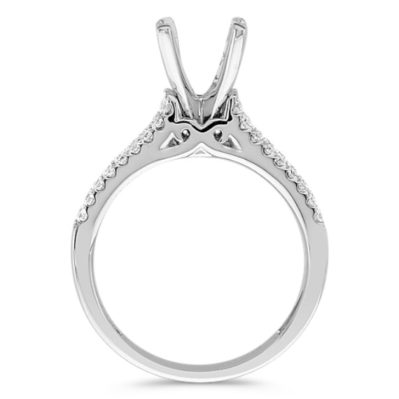 Classic Split Shank Round Diamond Cathedral Engagement Ring