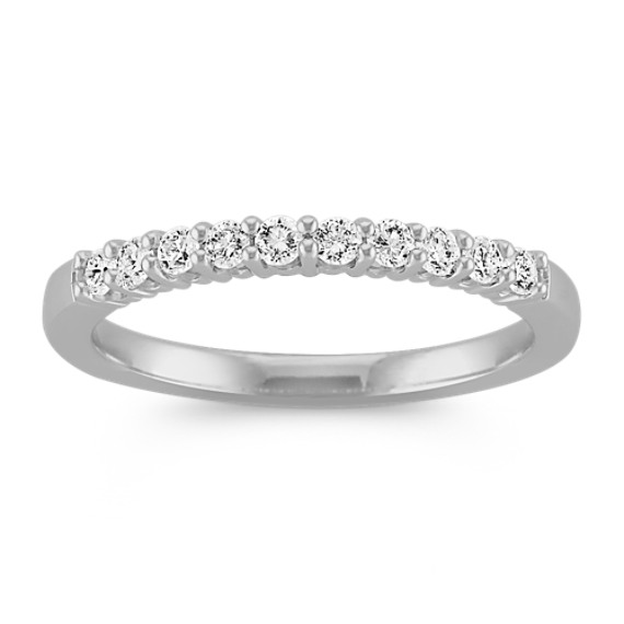 Classic Ten-Stone Round Diamond Wedding Band in White Gold