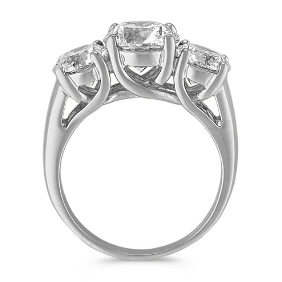Classic Three-Stone Round Diamond Ring in 14k White Gold