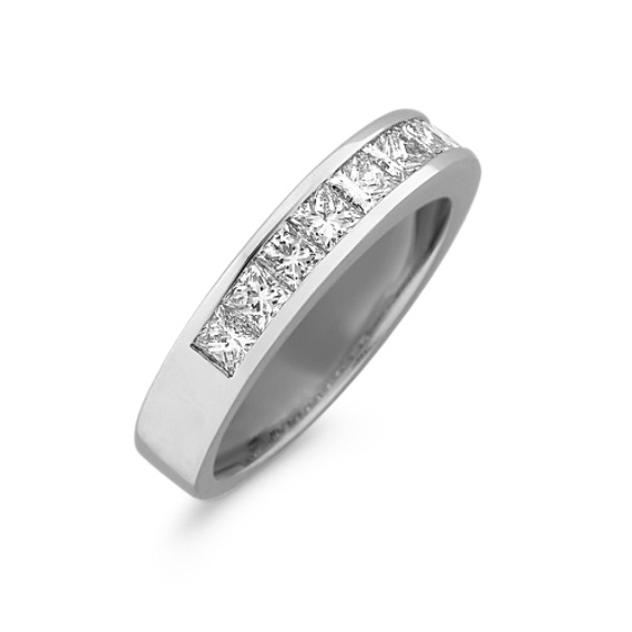 ClassicPrincess Cut Diamond Wedding Band in 14k White Gold