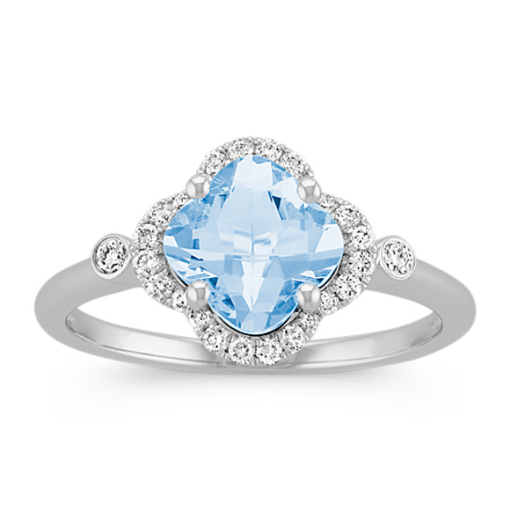 Clover-Shaped Aquamarine and Round Diamond Ring in 14k White Gold
