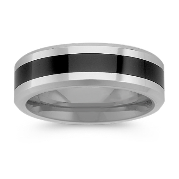 Cobalt and Black Ceramic Comfort Fit Ring (7mm)