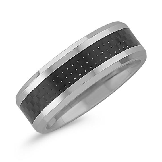 Cobalt and Carbon Fiber Comfort Fit Ring (8mm)