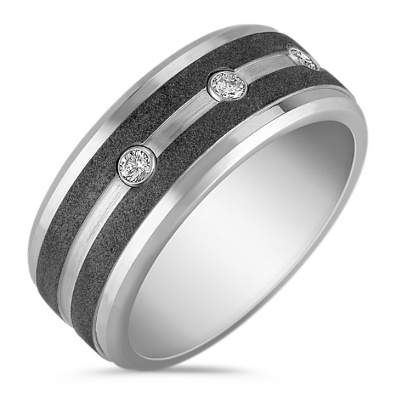 Cobalt Men's Ring with Round Diamonds (9.5mm)
