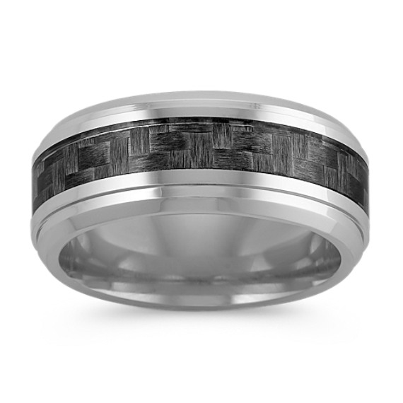 Comfort Fit Cobalt Ring with Carbon Fiber Accents