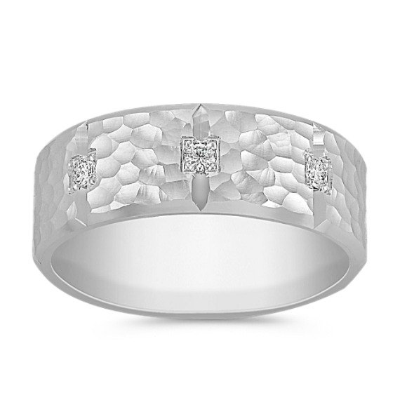 Comfort Fit Diamond Ring with Hammered Finish