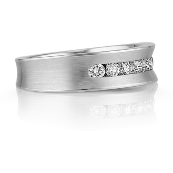 Concave Seven-Stone Diamond Men's Wedding Band with Channel-Setting
