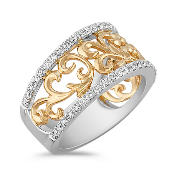Contemporary Diamond Ring in Two-Tone Gold
