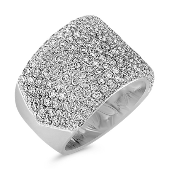 Contemporary Diamond Ring with Pavé Setting