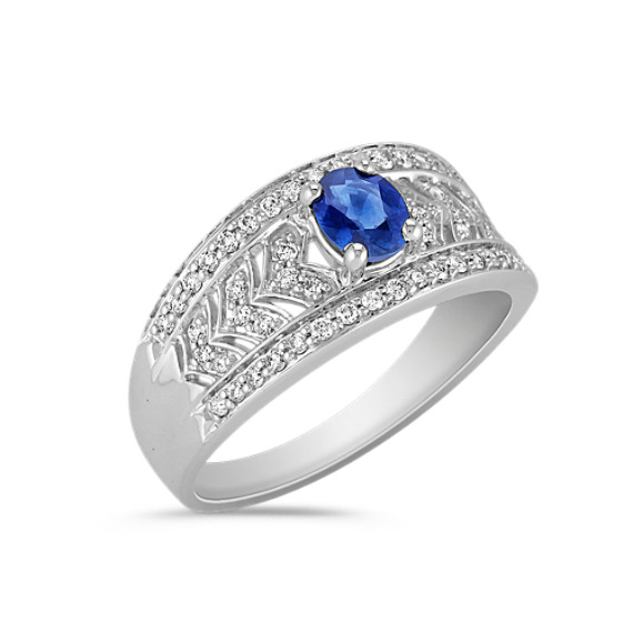 Contemporary Oval Sapphire and Round Diamond Ring
