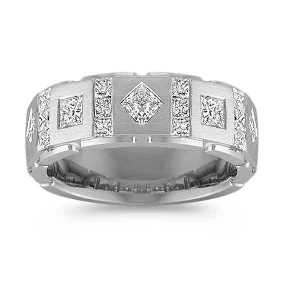 Contemporary Princess Cut Diamond Ring with Bezel and Channel-Setting