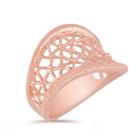 Contemporary Rose Plated Sterling Silver Ring