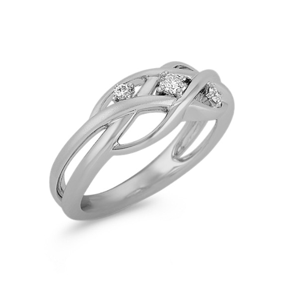 Contemporary Woven Diamond Ring