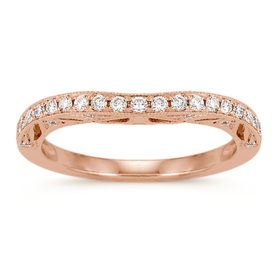 Contour Diamond Wedding Band in 14k Rose Gold