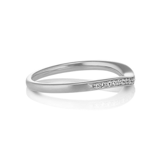 Contour Diamond Wedding Band with Pavé Setting