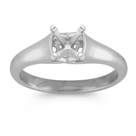 Criss Cross Solitaire 14k White Gold Engagement Ring