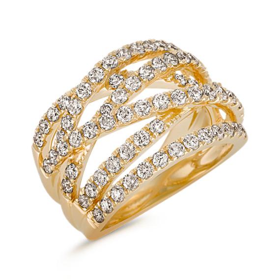 Crisscross Diamond Ring with Pavé Setting