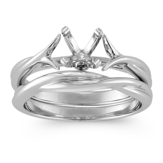 Crisscross Solitaire White Gold Wedding Set